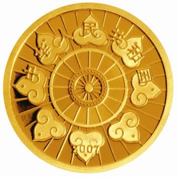 正面图案为蒙古族勒勒车车轮,蒙古包圆顶以及祥云装饰图案,并刊国名