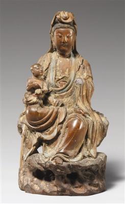 明代彩绘木雕送子观音坐像